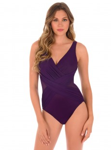 "Maillot de bain gainant Crossover Prune - Illusionists - ""M"" - Miraclesuit swimwear"