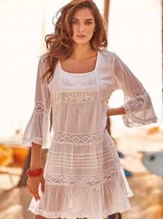 Robe de plage manche 3/4 blanche - Positano - Iconique
