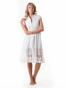 Robe chemise sans manche brodées blanche - Positano - Iconique