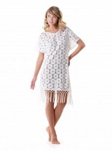 Robe dos-nu à franges blanche - Boho Net - Iconique