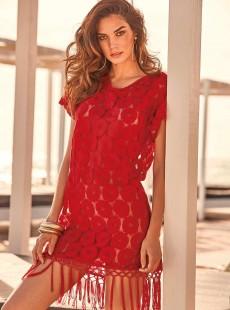 Robe dos-nu à franges rouge - Boho Net - Iconique