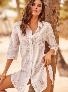 Robe chemise imprimée feuille Blanche - Portofino - Iconique