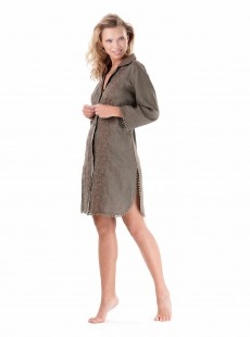 Robe chemise brodée avec pompons Olive - Desert Walk - Iconique