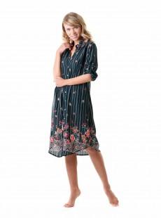 Robe chemise mi-longue Multicolore - Flora - Iconique