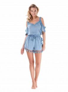 Short à pompons chambray bleu - Ibiza - Iconique