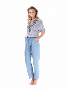 Pantalon large chambray Bleu - Ibiza - Iconique