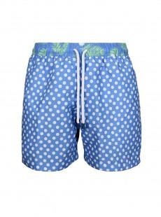 Short de bain bleu pois blancs Classic - Dots - Palmacea