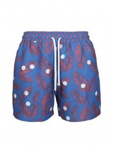 Short de bain bleu marine feuilles rouges Classic - Dots - Palmacea