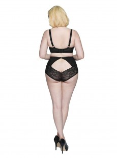 Culotte taille haute Peek-A-Boo Lace Noire - Scantilly Lingerie