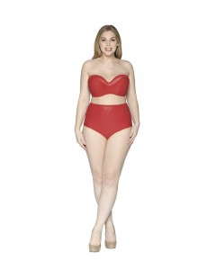 Haut de maillot Bandeau Sheer Class Rouge - Curvy Kate Swimwear