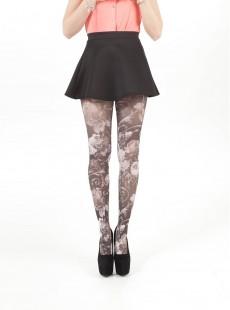 Collants imprimés à fleurs Noir / Blanc - Pamela Mann