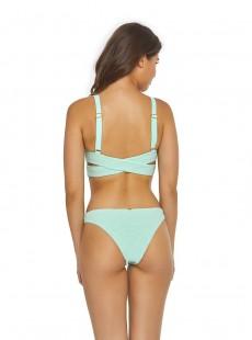 Haut de maillot de bain plongeant Azura Smocked bleu/vert - PilyQ