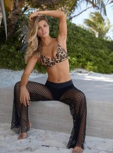 Pantalon de plage Long en résille Midnight Nikki Mesh Noir - PilyQ