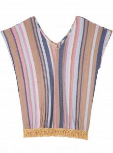 Tunique à rayures courte manches longues Riviera Maggie Multicolore - PilyQ