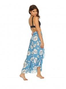 Pantalon de plage long à volants Poppy Ruffle Imprimés fleuris/Bleu - PilyQ