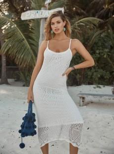 Robe de plage longue Poseidon Pom Pom blanc - PilyQ