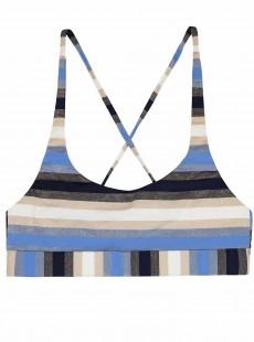 Brassière de bain sport  à rayures Cancun Stripe Sporty Bleu/Blanc/Noir - PilyQ