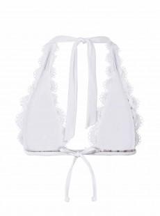 Haut de maillot de bain triangle en dentelle Must Haves Lace Blanc - PilyQ