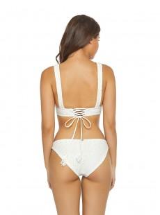 Haut de maillot de bain Plongeant à oeillets Eyelet Halter blanc - PilyQ
