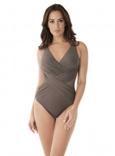 "Maillot de bain 1 pièce gainant Crossover Gris - Illusionist - "" M "" - Miraclesuit Swimwear"