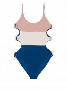 Maillot de bain 1 pièce Island Blue Bleu Blanc Rose - PilyQ