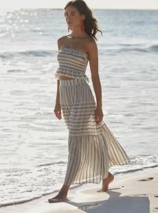 Jupe de plage longue à rayures Pippa Harbour Stripes - PilyQ