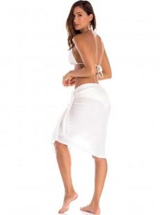Jupe de plage courte ajustable blanche - Camelia - Milonga