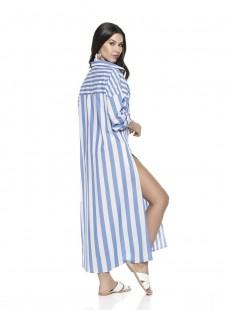 Blouse à rayures blanc & bleu long - Tiedyewater - Phax