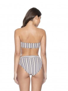 Culotte de bain taille haute à rayures Harbour Stripe - PilyQ
