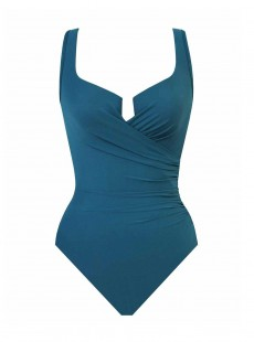 "Maillot de bain gainant Escape Bleu Canard - Must Haves - ""W"" - Miraclesuit Swimwear"