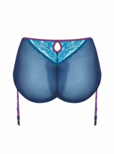 Culotte taille haute avec jaretelles Flutterby bleu / violet - Curvy Kate Lingerie