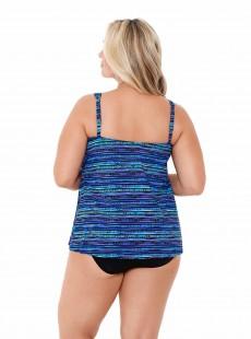 "Mirage Tankini Top Bleu - Secret Sanskrit - ""W"" - Miraclesuit swimwear"