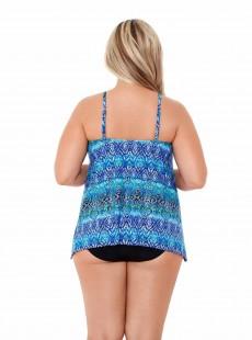 "Peephole Tankini Top Bleu - Blue Curacao - ""W"" - Miraclesuit Swimwear"