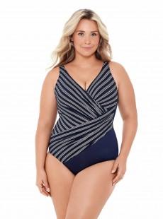 """Maillot de bain gainant Oceanus Bleu Nuit - Belmont Stripe - """"W"""" -Miraclesuit Swimwear"""