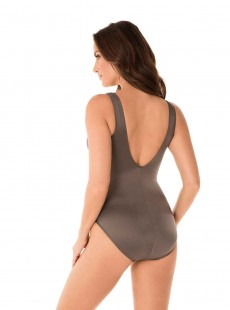 "Maillot de bain gainant Crossover Gris - Illusionists - ""M"" - Miraclesuit swimwear"