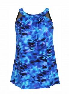 "Tankini Ursula Bleu - Cloud Leopard - ""W"" - Miraclesuit Swimwear"